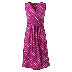Lands' End - Pink womens petite sleeveless fit and flare patterned dress