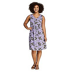 Lands' End - Purple Womens Plus Sleeveless Fit and Flare Patterned Dress