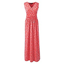 Lands' End - Pink Print Wrap Maxi Dress