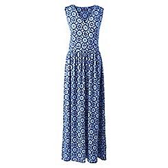 Lands' End - Blue Print Wrap Maxi Dress