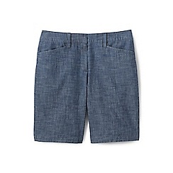 Lands' End - Blue womens mid rise 10 chambray bermuda shorts