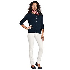 Lands' End - White womens mid rise pull-on white skinny jeans