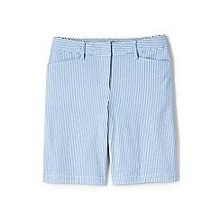 Lands' End - Blue womens mid rise seersucker bermuda shorts