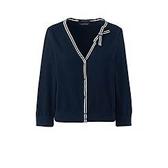 Lands' End - Blue supima cropped bow detail cardigan