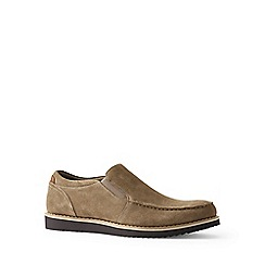 Lands' End - Beige wide comfort casual suede loafers