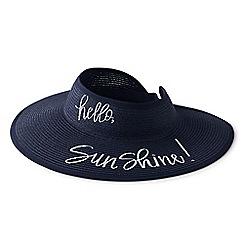 Lands' End - Blue packable straw sun visor hat