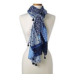 Lands' End - Blue patchwork print scarf