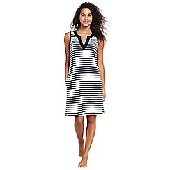 Lands' End - Blue sleevesless cotton stripe beach dress
