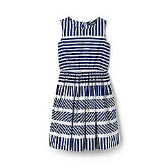 Lands' End - Girls' Blue  sleeveless dress with engineered stripes