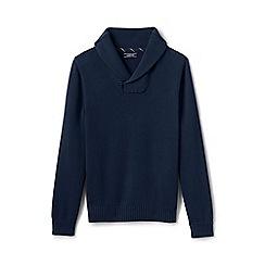 Lands' End - Blue drifter shawl collar cotton jumper