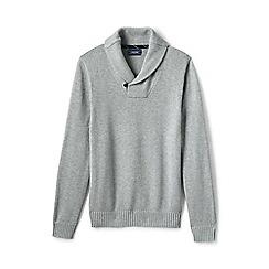 Lands' End - Grey drifter shawl collar cotton jumper