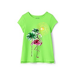 Lands' End - Green girls' sequin graphic t shirt