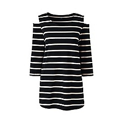 Lands' End - Multi cotton/modal striped cold shoulder top