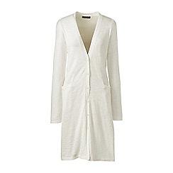 Lands' End - Cream cotton blend slub long cardigan