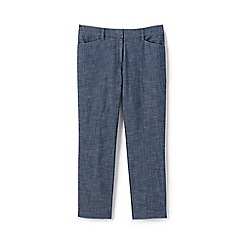 Lands' End - Blue womens mid rise chambray cropped trousers