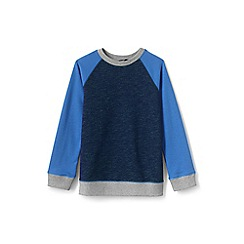 Lands' End - Blue boys' space-dyed crew sweatshirt