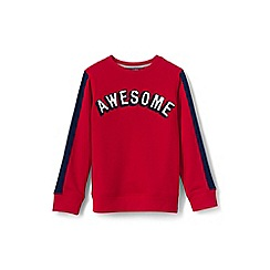Lands' End - Red boys' striped graphic crew sweatshirt