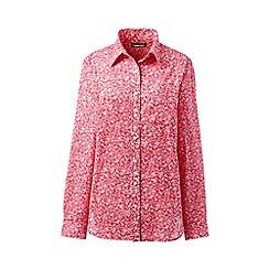 Lands' End - Orange Plus Patterned Cotton/Linen Roll Sleeve Shirt