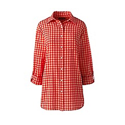 Lands' End - Orange patterned cotton or linen roll sleeves shirt