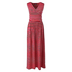 Lands' End - Red Striped Wrap Maxi Dress