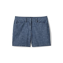 Lands' End - Blue womens mid rise chambray shorts