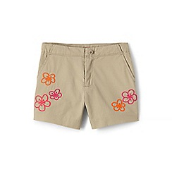 Lands' End - Green girls' chino shorts with embroidered detail