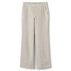 Lands' End - Beige womens wide leg linen trousers