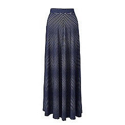 Lands' End - Navy womens striped jersey maxi skirt