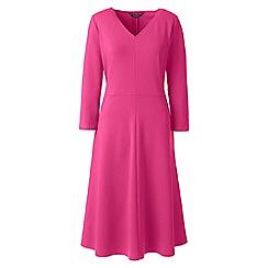 Lands' End - Pink womens 3-quarter sleeves a-line ponte dress