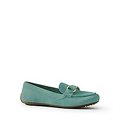 Lands' End - Green wide suede loafers