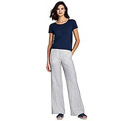 Lands' End - Blue womens wide leg striped linen trousers