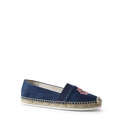 Lands' End - Blue embroidered elastic espadrilles shoes