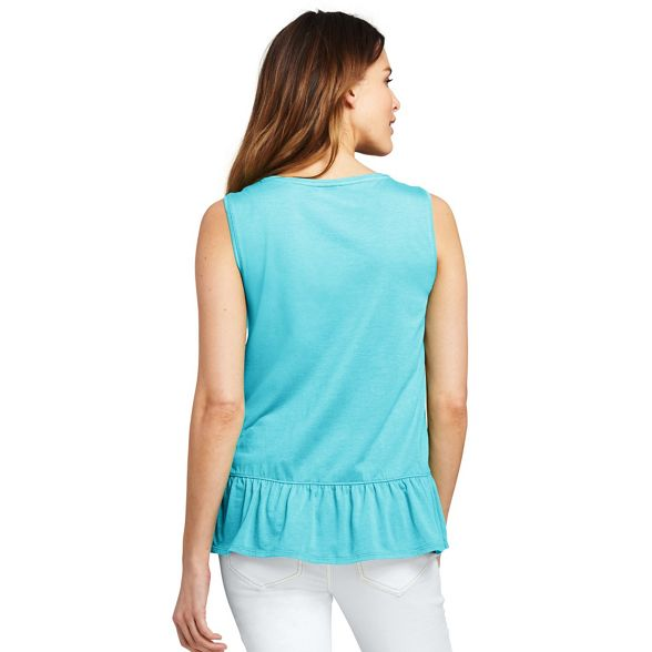 with ruffle Lands' top hem vest End Blue HqRnzS