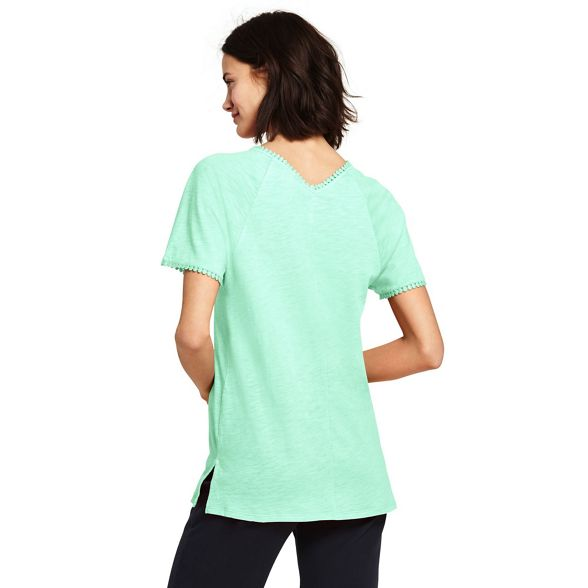Green Lands' tunic top modal cotton in End sleeve short 5I1xnTIrq