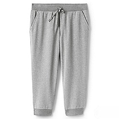 Lands' End - Grey womens luxe cropped jersey joggers