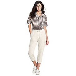 Lands' End - Beige womens luxe cropped jersey joggers