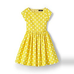 Lands' End - Girls' Yellow  party dress in printed cotton ottoman