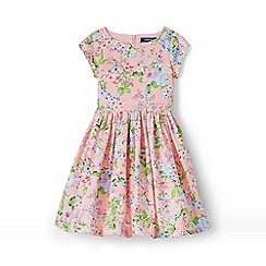 Lands' End - Girls' Pink  party dress in printed cotton ottoman