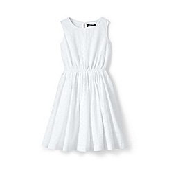 Lands' End - Girls' White  sleeveless dress in broderie anglaise