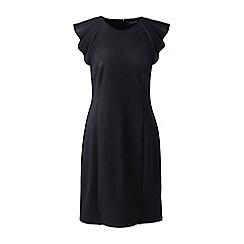 Lands' End - Black women's shift dress with shoulder ruffles