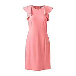 Lands' End - Pink women's shift dress with shoulder ruffles