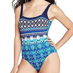 Lands' End - Multi square neck ikat print perfect swimsuit