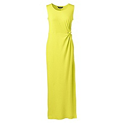 Lands' End - Yellow womens jersey maxi dress with knot detail