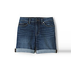 Lands' End - Blue womens roll hem denim shorts