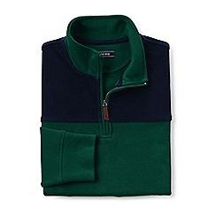 Lands' End - Green colourblocked brushed rib half zip jumper