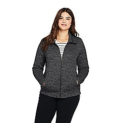 Lands' End - Black plus funnel neck fleece jacket
