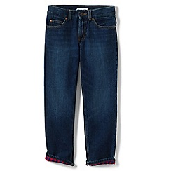 Lands' End - Blue boys' flannel-lined classic fit iron knees jeans