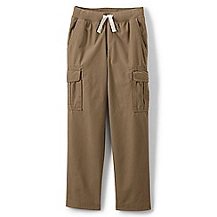 Lands' End - Beige boys' iron knees pull-on cargo trousers