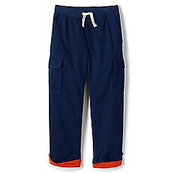 Lands' End - Blue boys' iron knees jersey-lined pull-on cargo trousers