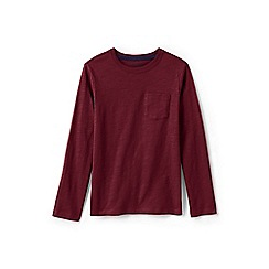 Lands' End - Red boys' long sleeve t-shirt with pocket